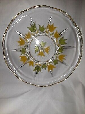 Vintage CULVER LTD Tulip Platter Gold Trim Green Yellow Glass Serving Tray MCM