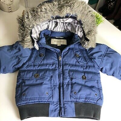 Burberry Authentic Toddler Blue Winter Puffer Jacket Removable Fur Hood 12 Month