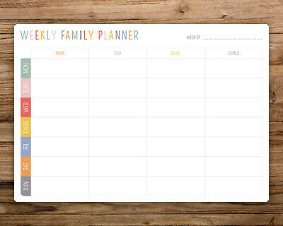 Personalised Bright  Dry Wipe Whiteboard Weekly Family Planner Board