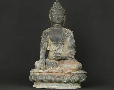 """13""""H Asian Old Bronze Collectable Hand Casting Buddha Ornament Statue Figure"""