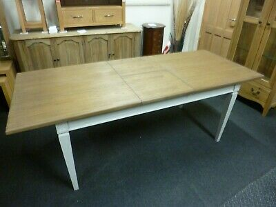 New French Light Grey & Oak Extending Dining Table *Willis & Gambier Florence*