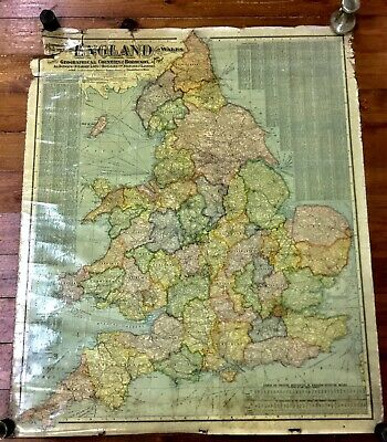 Antique Wall Map Of England & Wales Scarborough Publishing Early 1900s