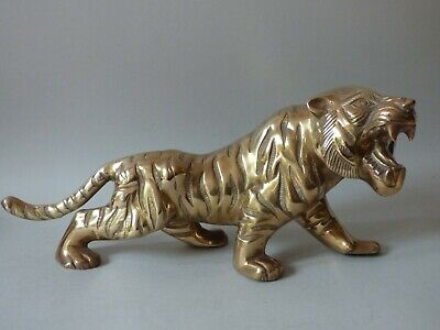 Large Heavy Collectable Vintage Brass Wild Animal Asian Oriental Tiger Free Uk P