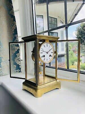 Antique French Four Glass Brass Mantel Clock