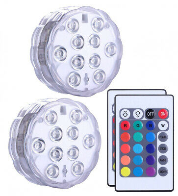 Alilimall Submersible LED Lights set of 2, Remote Controlled Multi Color...