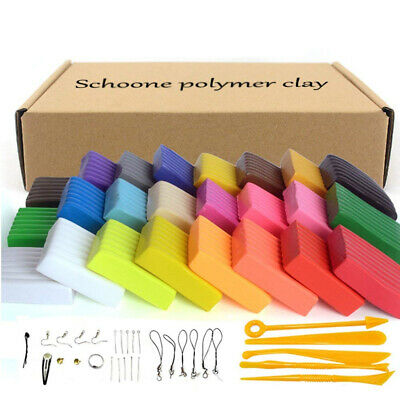 Polymer Clay 24 Colors Oven Bake DIY Colorful Safe and Nontoxic Soft...