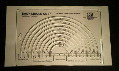 """Easy Quilting Circle Template by Sharon Hultgren 2"""" to 10"""" Circle Cut Fabric Sew"""