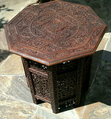 """Large c1900 Antique Anglo Indian Carved Octagonal Folding Side Table  21.5""""Tall"""