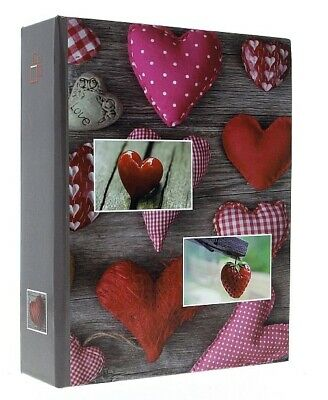 "Grey Slip In Photo Album Holds 300 6"" x 4"" Photos Red Heart Memories Gift"