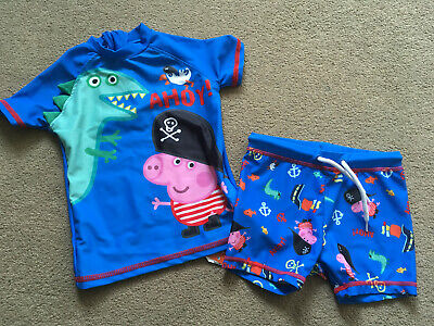 BNWT NEXT Peppa Pig George 2 Piece UPF Sun Protection Swim Suit Trunks 9-12 Mons