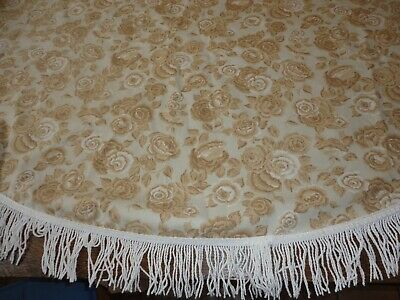 "Vintage Tablecloth 62"" Round Taupe & Tan Roses Print Cotton Blend"