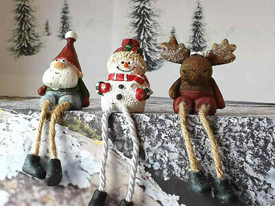 Set 3 small cute christmas ornaments resin dangly legs gnome  snowman  reindeer