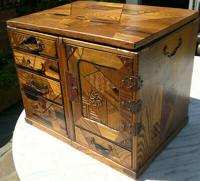 Rare Antique Japanese Meiji Period Inlaid Marquetry Campaign Travelling Box