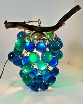 Vintage Lucite Grape Grapes Swag Hanging Lamp Blue and Green