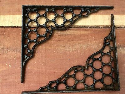 2 Webb Cast Iron Wall Shelf Brackets  Antique Style Corbel Rustic FREE SHIP