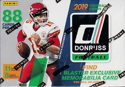 2019 Panini Donruss Football sealed blaster box 11 packs of 8 NFL cards 1 relic