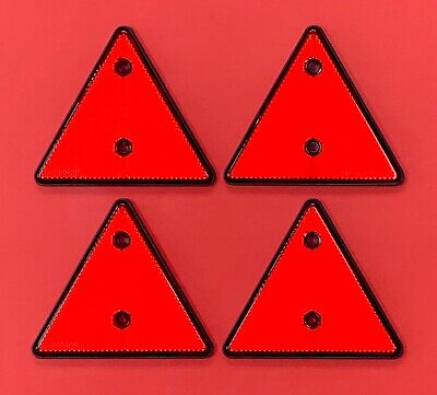 4 x Red Triangle Reflectors Screw Mount for Trailers/Trucks/Caravans etc