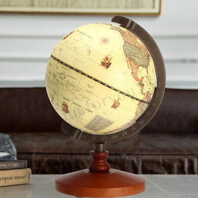 5.5'' Vintage Desk Table Rotating Earth World Map Globe Geography Decor Gift