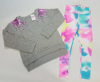 NWT Justice Size 6//7 8 10 12 14//16 18//20 Girls Can Heart Top Gray Pink Leggings