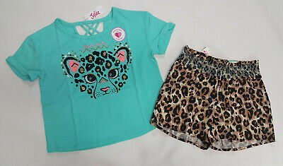 NWT Justice Girls Size 10 or 14/16 Blue Cheetah Leopard Sequin Top & Soft Shorts