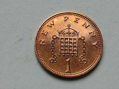 UK (Great Britain) 1975 ONE PENNY PROOF (1p) Elizabeth II Coin UNC Scratches