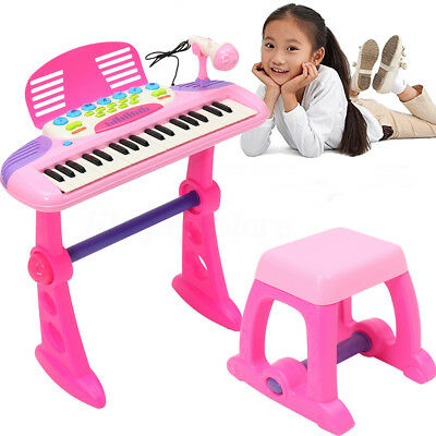 Pink Kids Electronic Keyboard 37 Key Piano Musical Toy w/ Microphone&Stool Gift