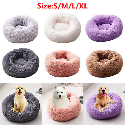 Pet Dog Cat Kennel Calming Bed Round Nest Warm Soft Plush Comfortable Sleeping N