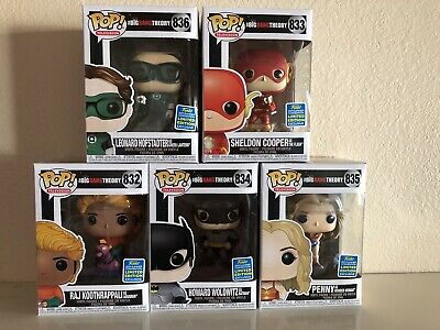FUNKO POP Lot Of 5 Big Bang Theory Cast as Justice League SDCC 2019