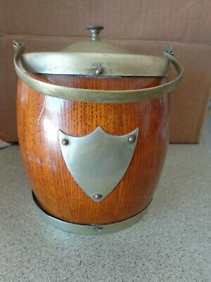 Old Antique Ice Bucket Porcelain Insert Brass Handle Cover wood Minty  condition