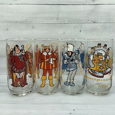 1979 Burger King Collector's Series Drinking Glass Set of 4 Characters