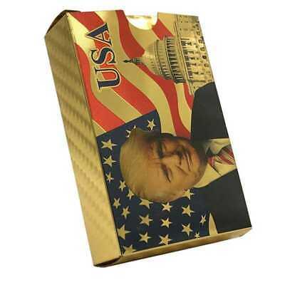 Waterproof Plastic Playing Cards Color Gold Foil Donald Trump Poker Deck Game