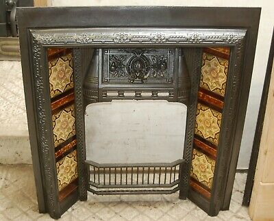 VICTORIAN TILED CAST IRON FIRE INSERT- FIRE BRICK AND STOOL AVAILABLE Ref FI0034