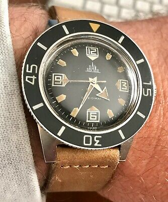 VINTAGE 1960 MILITARY DIVER ORANO DIVE-O-MATIC 40mm BLANCPAIN FIFTY FATHOM BEZEL