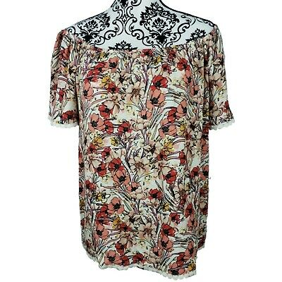 Le Lis Womens Off Shoulder Floral Top Size Large