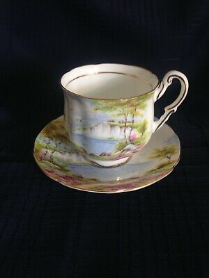 Vintage Paragon Double Warrant Fine China Tea Cup And Saucer - Cliffs Of Dover