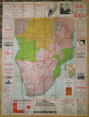 The 'South Africa' Paper Map Of Central & South Africa - 1935