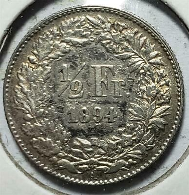 Switzerland, 1/2 Franc, 1894A, Extra Fine, Scarce, Key Date, .0671 Ounce Silver