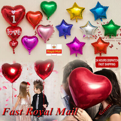 12/18/32'' Heart/Star Foil Balloons Party Helium Quality Wedding 10 Color 1-20pc