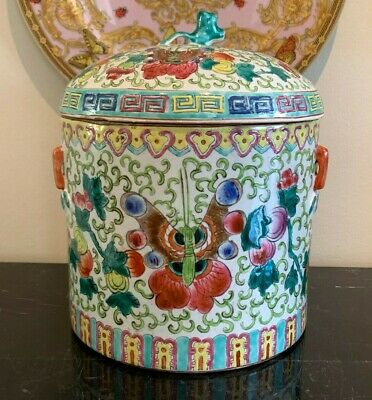 Antique Chinese Export Hand Painted Porcelain Tea Caddy Humidor