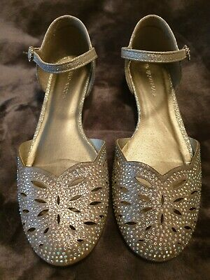 Girls special Occasion silver shoes sandals John Rocha Debenhams size 4 37 prom