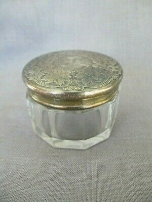 Antique sterling topped small vanity jar paneled glass base