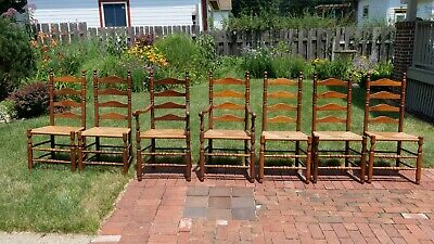 7 Vintage Ladder Back Chairs Rush Seats $500