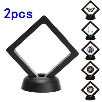 Jewelry Coin Frame Black Plastic Floating Display Holder Box Protection