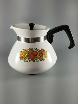 Vintage Corning Ware Spice of Life 6-cup Coffee Tea Pot P-104 w Stainless Lid
