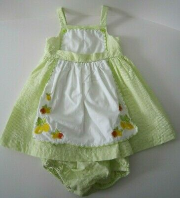 Janie & Jack Taste of Capri Lemon Seersucker Apron Dress Girls 6-12 Months