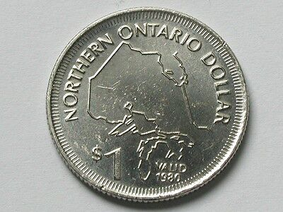 Northern Ontario CANADA 1980 DOLLAR Bilingual Token/Coin Great Lakes Map & Place