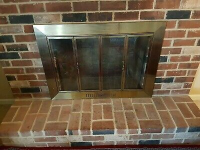 Fireplace Doors Large Glass Surface Mount Design in Antique Brass Finish