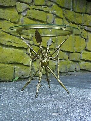 1960s French Directoire Style Mid-Century Brass Glass Gueridon Arrow Side Table
