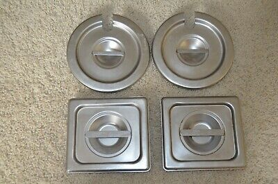 4 Vollrath Stainless Pan Covers - 2  #75160 & 2 Slotted