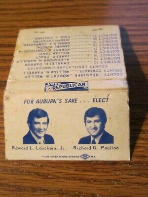Auburn NY Republican Political Matchbook Lauckern, Paulino 1970s Vtg Election